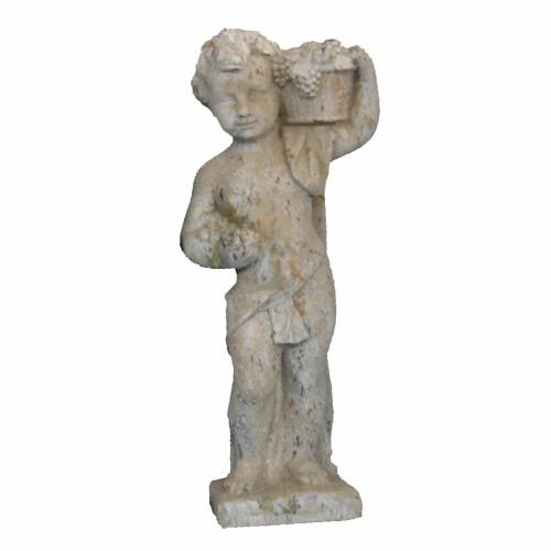 Angelot petit modèle 4 saisons automne en pierre reconstituée - Hauteur 70 cm