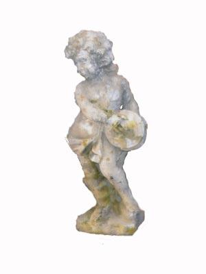 Angelot petit modèle joueur de cymbale en pierre reconstituée - Hauteur 70 cm