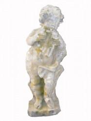 Angelot petit modèle joueur de flûte de pan en pierre reconstituée - Hauteur 70 cm