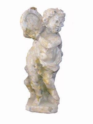 Angelot petit modèle joueur de tambourin en pierre reconstituée - Hauteur 70 cm