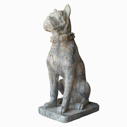 Chien bulldog en pierre reconstituée - Hauteur 98 cm