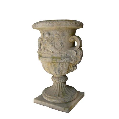 Vase décors angelot en pierre reconstituée - Hauteur 140 cm