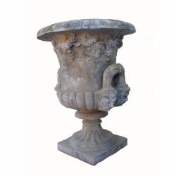 Vase medicis feuilles de vigne en pierre reconstituée - Hauteur 97 cm