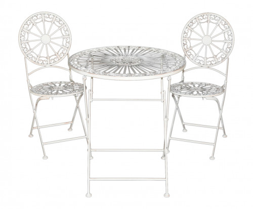 salon de jardin pliant en fer forg patine blanche fleur de lys demeure et jardin. Black Bedroom Furniture Sets. Home Design Ideas