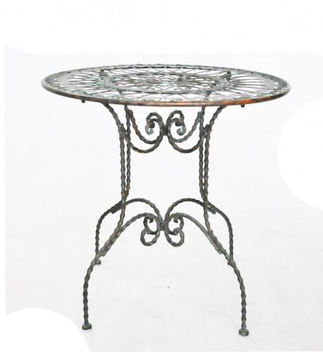 Table De Jardin Aluminium Et Bois :  JARDIN › SALON DE JARDIN › Gueridon en fer forgé patine Vert De