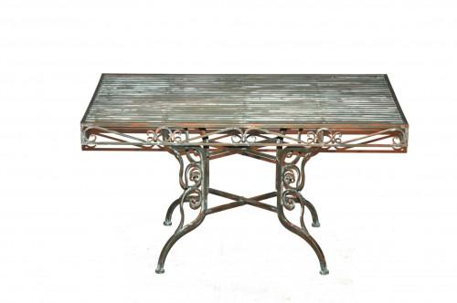 Table Basse en fer forgé vert de gris
