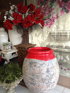 Jarre de forme olive patine classique - Hauteur 60 cm