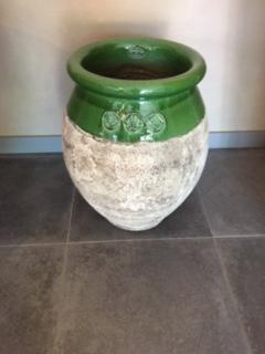 Jarre de forme olive patine prestige - Hauteur 60 cm