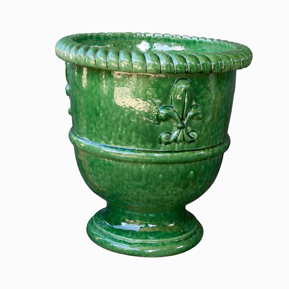 Vase provençal modèle Fleur de Lys finition émaillée intégrale - Hauteur 60cm - Demeure et Jardin