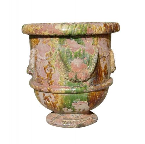Vase provençal modèle Guirlande finition émaillée intégrale - Hauteur 80cm