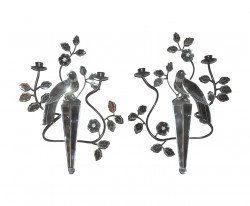 Belle Paire d'appliques oiseaux non électrifiées en Miroir