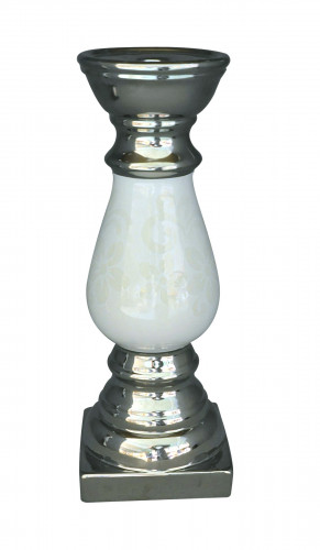 Bougeoir design argenté et blanc Petit Modèle