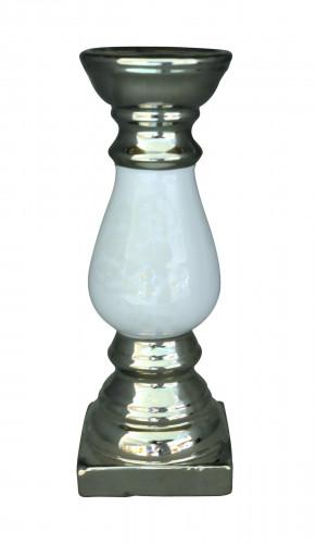 Bougeoir Céramique Argent et Blanc Damassé