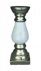 Bougeoir design Céramique Argent et Blanc