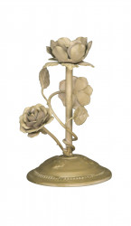 Bougeoir roses en metal  deco de table fleurs