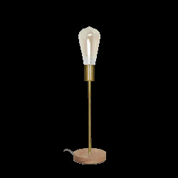 Lampe en métal couleur laiton avec socle en bois