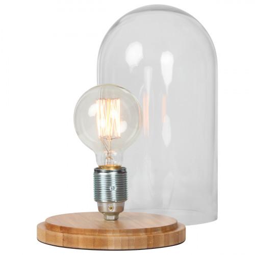 Lampe cloche en verre avec socle en bois