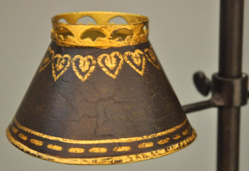 Lampe tole peinte de bureau double