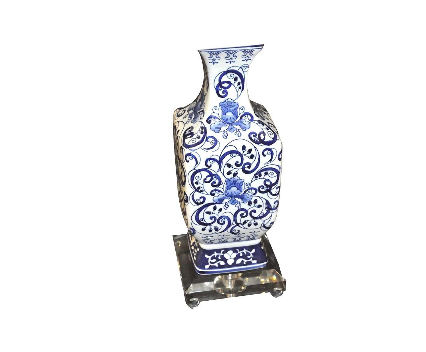 Lampe Porcelaine Bleue De Style Chinoise Demeure Et Jardin