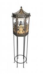 Lanterne tôle peinte  sur pied forme pagode