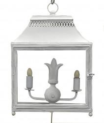 Lanterne Fer Forgé blanche double à poser