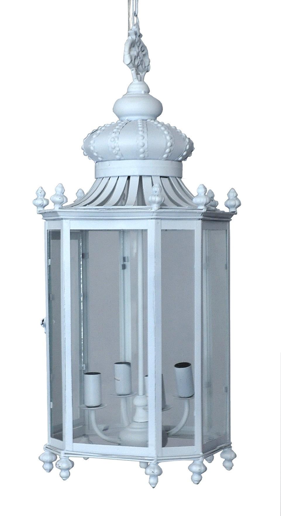 Lanterne fer forg couronne blanche demeure et jardin for Porte lanterne fer forge