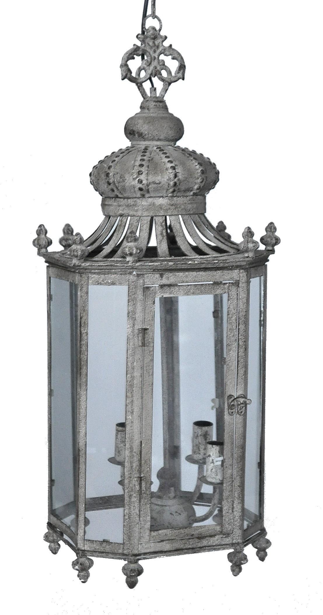 lanterne fer forg couronne gris cendr e demeure et jardin. Black Bedroom Furniture Sets. Home Design Ideas