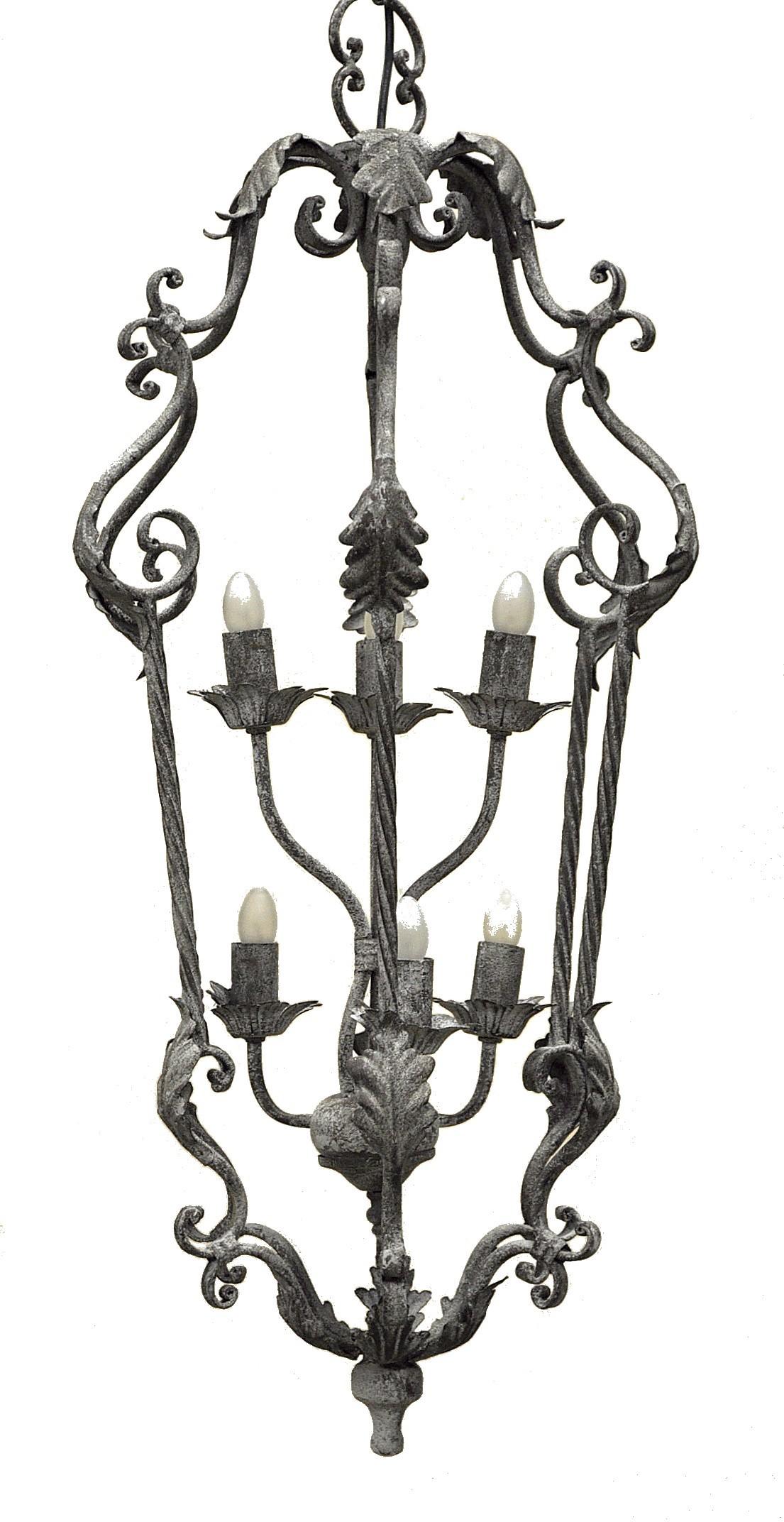 lanterne fer forg 6 feux gris fonc demeure et jardin. Black Bedroom Furniture Sets. Home Design Ideas
