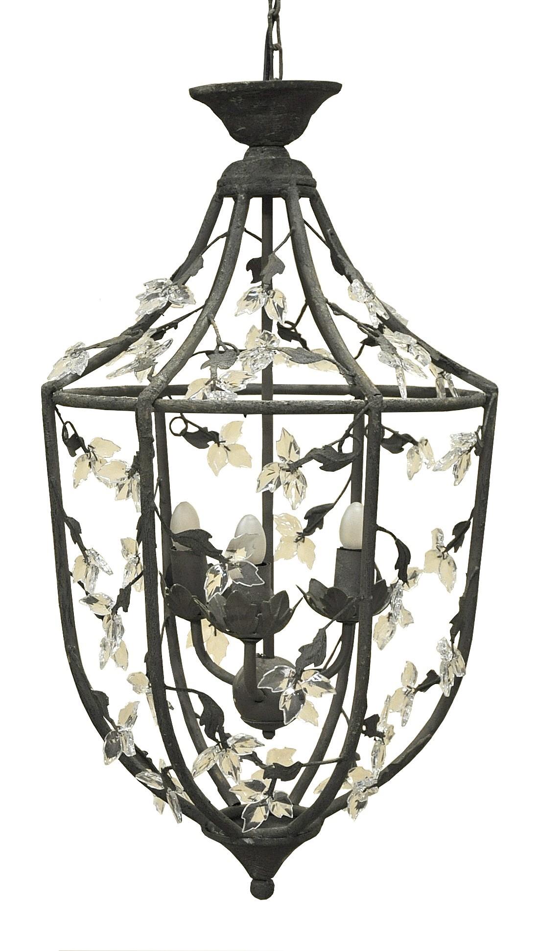 lanterne fer forg feuillag e gris fonc demeure et jardin. Black Bedroom Furniture Sets. Home Design Ideas