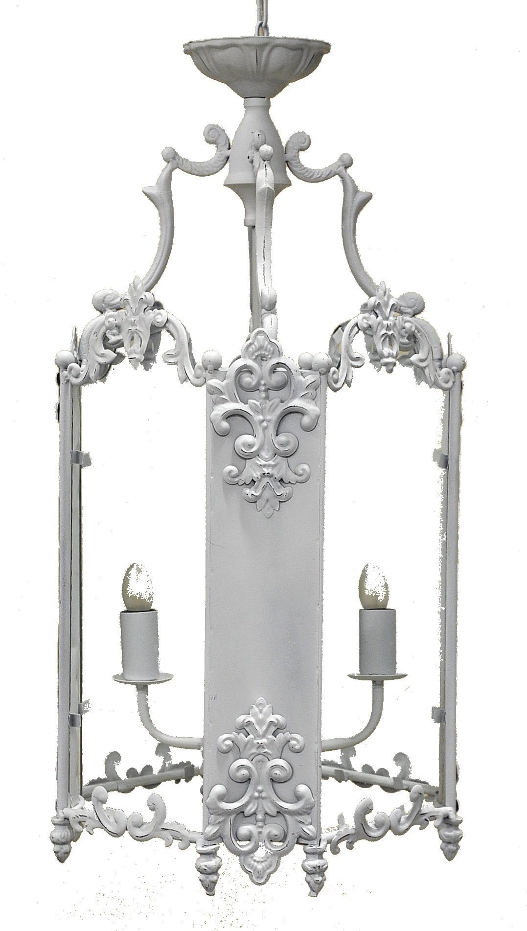Lanterne fer forg blanche demeure et jardin for Porte lanterne fer forge