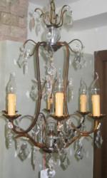 Lustre à Pampilles en Fer Forgé patine bronze 6 lumières