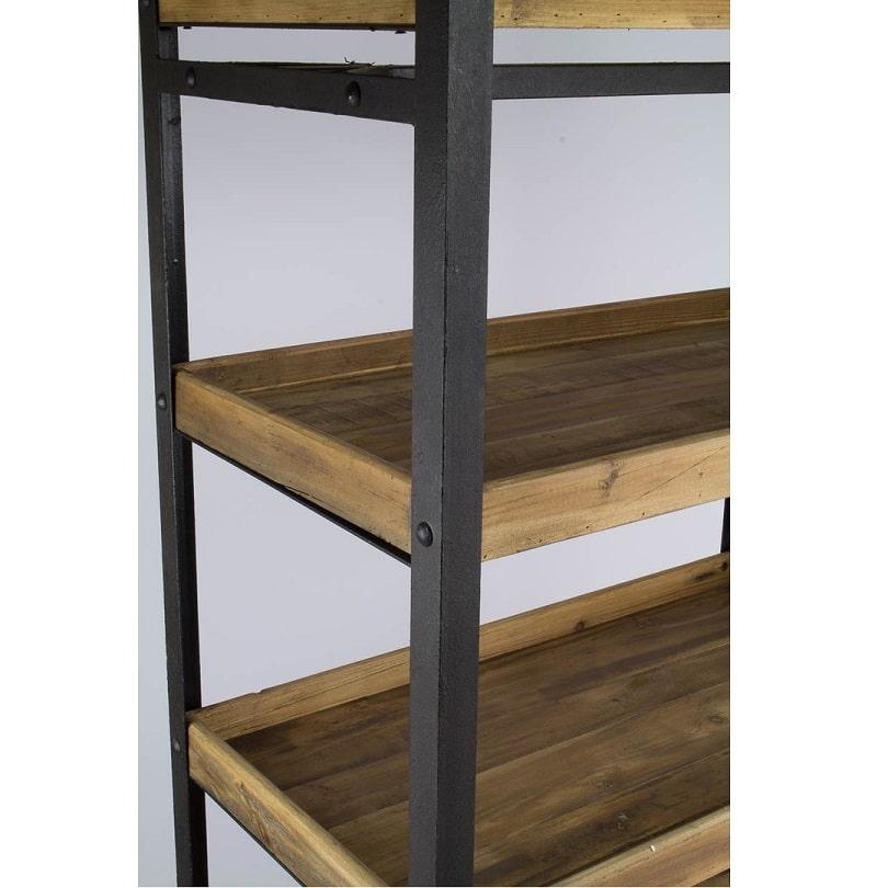 etag re avec roues vintage industrielle m tal vieux bois demeure et jardin. Black Bedroom Furniture Sets. Home Design Ideas