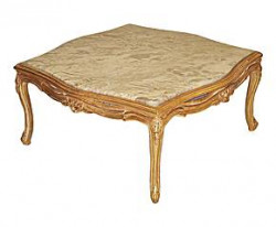Belle table basse marbre rose bois doré