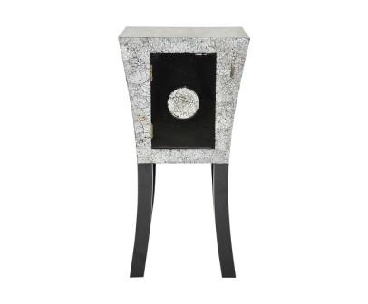 Chevet laque noire et coquille d'oeuf Art Déco Sellette
