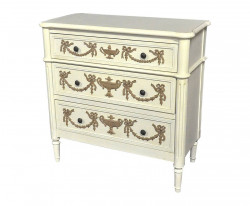 Commode Louis XVI blanche moulures chocolat