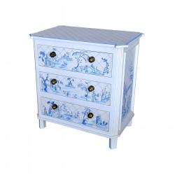 Commode blanche décor bleu style Toile de Jouy