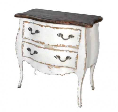 commode en bois ivoire patin e avec plateau rustique demeure et jardin. Black Bedroom Furniture Sets. Home Design Ideas