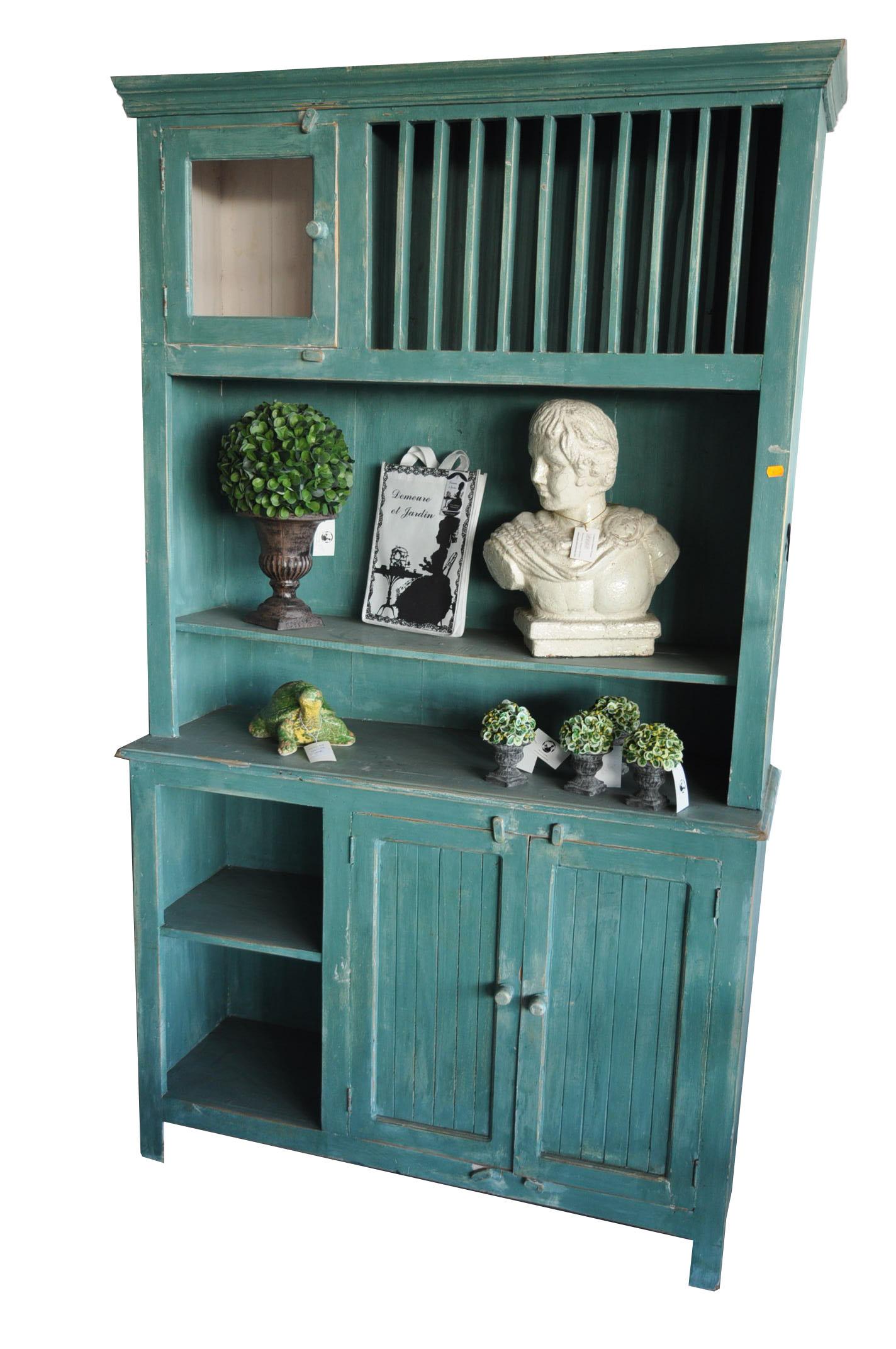 vaisselier cuisine bleu vert en bois rustique demeure et jardin. Black Bedroom Furniture Sets. Home Design Ideas