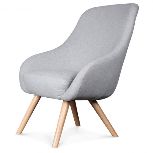 fauteuil design scandinave tissu gris flanelle egg. Black Bedroom Furniture Sets. Home Design Ideas