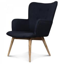 Fauteuil design style Scandinave pieds bois tissu gris anthracite NORK
