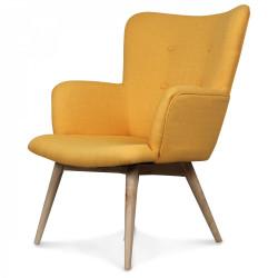 Fauteuil design style Scandinave pieds bois tissu jaune moutarde NORK