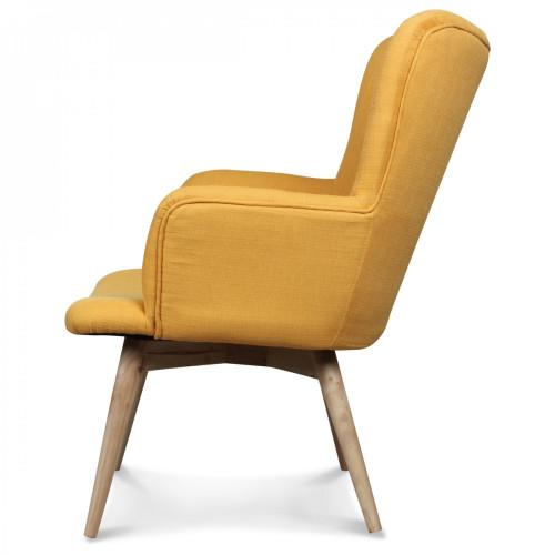 fauteuil design style scandinave pieds bois tissu jaune moutarde nork demeure et jardin. Black Bedroom Furniture Sets. Home Design Ideas