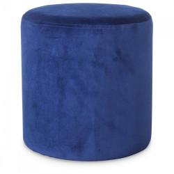 Petit Tabouret Rond en Velours Bleu Vif