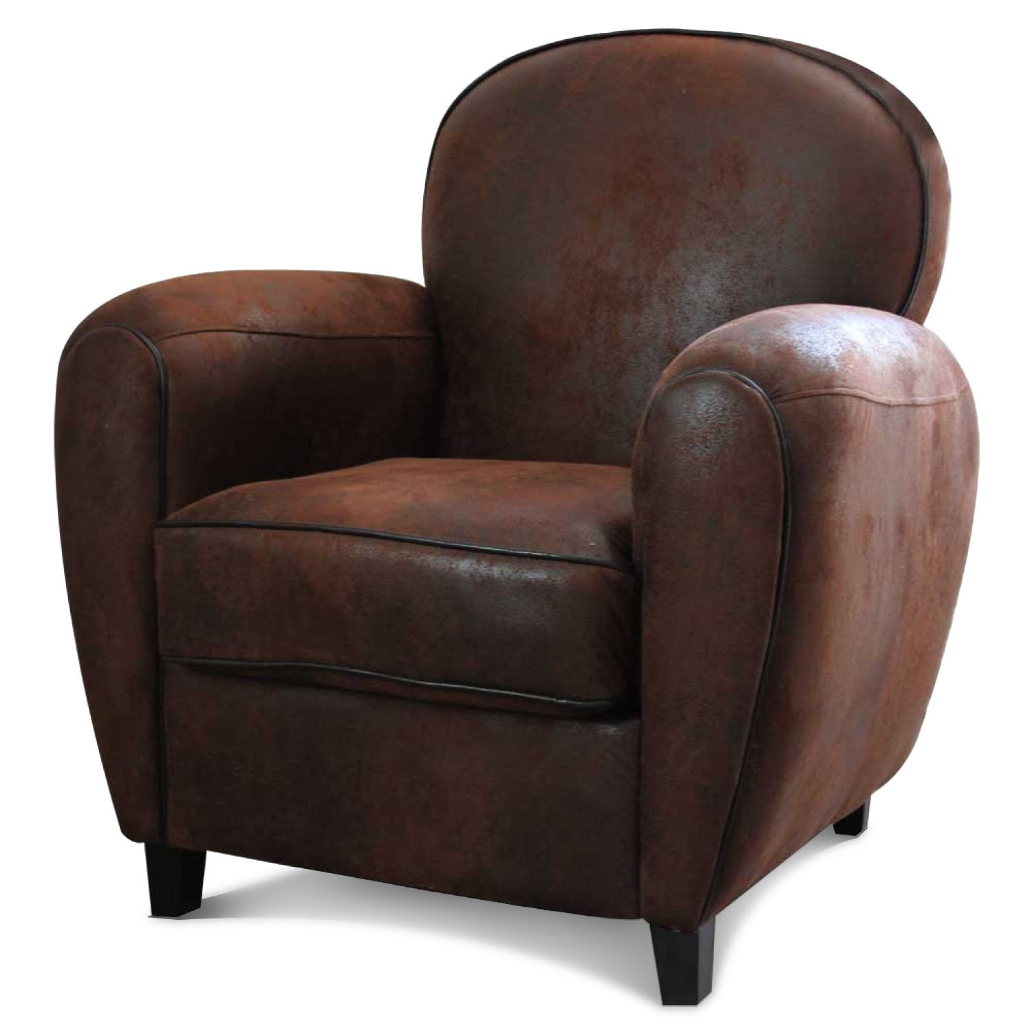 fauteuil club en microfibre effet cro te de cuir demeure. Black Bedroom Furniture Sets. Home Design Ideas