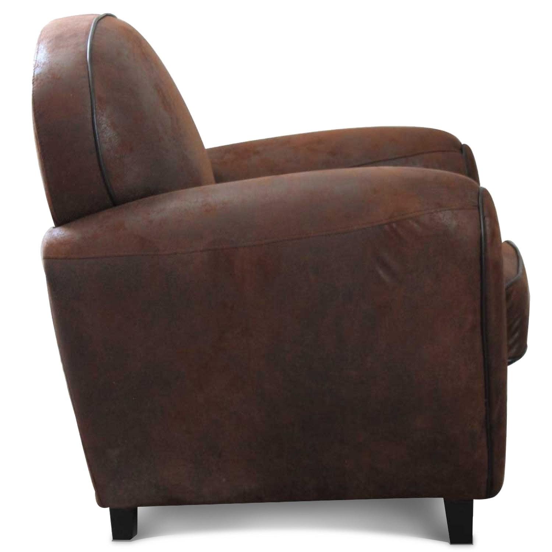 fauteuil club en microfibre effet cro te de cuir demeure. Black Bedroom Furniture Sets. Home Design Ideas