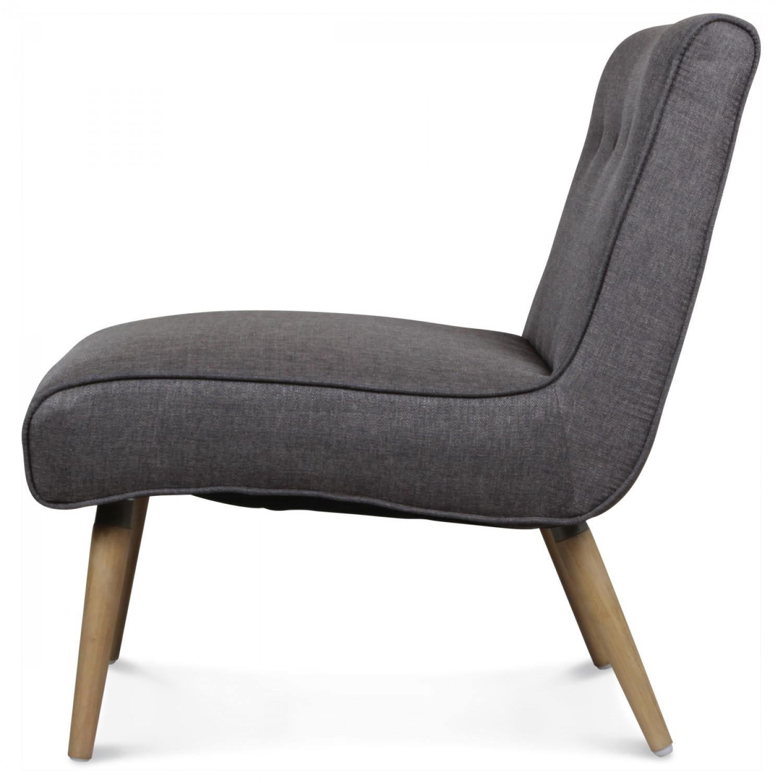 Fauteuil Design Scandinave Tissu Gris Pieds Bois IGOR Demeure Et - Fauteuil design scandinave