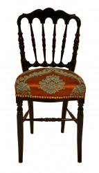 Chaise Napoléon III avec tissu imprimé marron et turquoise
