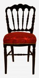 Chaise de style Napoléon III avec tissu en damas rouge