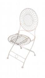 Chaise blanche de jardin en fer forgé