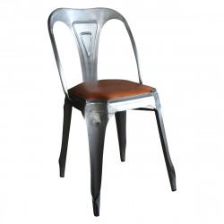Chaise style Vintage Industriel en Métal et Cuir